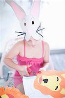Children's mask making party Stock Photo - Premium Royalty-Freenull, Code: 614-06973559