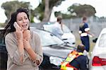 Woman crying after car accident Stock Photo - Premium Royalty-Free, Artist: Raymond Forbes, Code: 614-06973599