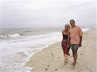 Mature couple walking hand in hand at beach Stock Photo - Premium Royalty-Freenull, Code: 6106-06977332