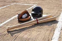 earth no people - Baseball glove, balls, bats and baseball helmet at home plate Stock Photo - Premium Royalty-Freenull, Code: 6106-06980444