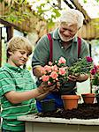 Young boy (8-9) planting flowers with grandfather in glasshouse, smiling Stock Photo - Premium Royalty-Free, Artist: Masterfile, Code: 6106-06982721