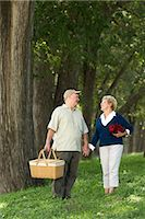 Senior couple walking in wood with picnic basket, holding hands Stock Photo - Premium Royalty-Freenull, Code: 6106-06985051