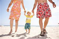 father son shirtless - Mid adult couple walking with son (2-3) on beach, low section Stock Photo - Premium Royalty-Freenull, Code: 6106-06990280