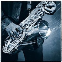 Saxophone in motion Stock Photo - Premium Royalty-Freenull, Code: 6106-06995203