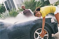 preteen girl wet clothes - Father and Daughter Cleaning a Car Stock Photo - Premium Royalty-Freenull, Code: 6106-06995911