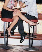 flirting - Man Sitting on a Stool at the Bar Counter Touching a Woman's Leg Stock Photo - Premium Royalty-Freenull, Code: 6106-06996034