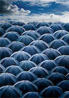 Large Group of Umbrellas Open in the Rain Stock Photo - Premium Royalty-Freenull, Code: 6106-07001484