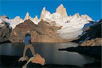people in argentina - Hiker Looking at the View of Lagos De Los Tres With Mt Fitzroy in the Background, Glacier National Park, Patagonia, Argentina Stock Photo - Premium Royalty-Freenull, Code: 6106-07001552