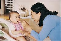 Mother Feeding Her Baby With a Spoon Stock Photo - Premium Royalty-Freenull, Code: 6106-07002341