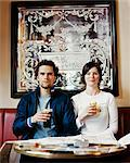 Portrait of a Blank Faced Couple in a Pub Stock Photo - Premium Royalty-Freenull, Code: 6106-07004715