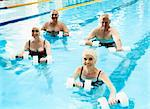 Group of Four Senior People Enjoying Weight Training in a Swimming Pool Stock Photo - Premium Royalty-Free, Artist: Cultura RM, Code: 6106-07005131