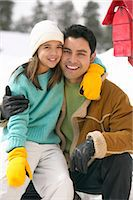 Portrait of a Father and Daughter by a Mail Box in the Snow Stock Photo - Premium Royalty-Freenull, Code: 6106-07006747