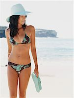 slim - Woman Holding a Pair of Flip Flops and Wearing a Bikini and Straw Hat Walking at Water's Edge Stock Photo - Premium Royalty-Freenull, Code: 6106-07008603