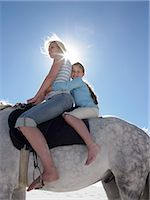 Mother and Daughter Sit on a White Horse, Backlit by the Sun Stock Photo - Premium Royalty-Freenull, Code: 6106-07009596