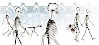 dog x-ray - Skeletons walking through neighborhood Stock Photo - Premium Royalty-Freenull, Code: 6106-07011884