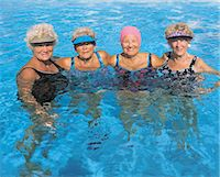 seniors woman in swimsuit - Portrait Mature Friends in a Pool Stock Photo - Premium Royalty-Freenull, Code: 6106-07015357