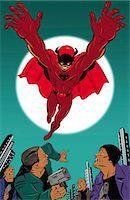 superhero - Super Hero Nabbing the Bad Guys at Night Stock Photo - Premium Royalty-Freenull, Code: 6106-07015765