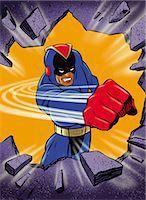 superhero - Super Hero Punching Hole through Wall Stock Photo - Premium Royalty-Freenull, Code: 6106-07015773