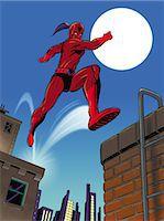 superhero - Super Hero Leaping from Building Stock Photo - Premium Royalty-Freenull, Code: 6106-07015781