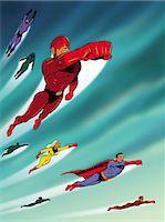 superhero - Super Hero Team in Flight Stock Photo - Premium Royalty-Freenull, Code: 6106-07015793