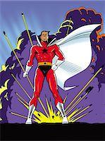 superhero - Super Hero Standing in Front of Explosion Stock Photo - Premium Royalty-Freenull, Code: 6106-07015800