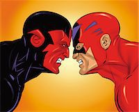 Super Face Off Stock Photo - Premium Royalty-Freenull, Code: 6106-07015805