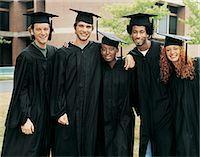 Portrait of Five Students at Graduation Stock Photo - Premium Royalty-Freenull, Code: 6106-07018176