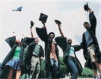 Five Students Jumping for Joy at Graduation Stock Photo - Premium Royalty-Freenull, Code: 6106-07018178