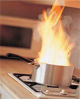 stove - Burning Saucepan on a Kitchen Hob Stock Photo - Premium Royalty-Freenull, Code: 6106-07019153