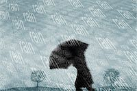 people with umbrellas in the rain - Silhouetted person caught out in torrential rain Stock Photo - Premium Royalty-Freenull, Code: 6106-07029213