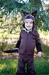 Male toddler in woods dressed up in wolf costume Stock Photo - Premium Royalty-Freenull, Code: 614-07031857