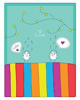 cheerful card. two cute little birds met and fell in love. vector illustration. Stock Photo - Royalty-Freenull, Code: 400-07033186