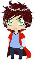 A vector illustration of a young guy in blue shirt and pants wearing red cape. Stock Photo - Royalty-Freenull, Code: 400-07037516