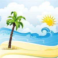 Beach with palm tree Stock Photo - Royalty-Freenull, Code: 400-07039542