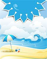 Blue solar shape with beach ball and umbrella Stock Photo - Royalty-Freenull, Code: 400-07039545