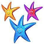 Colored starfish over white background Stock Photo - Royalty-Free, Artist: Merlinul, Code: 400-07039559