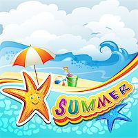 Summer beach with starfish and toys Stock Photo - Royalty-Freenull, Code: 400-07039563