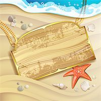 Wood banner over sand beach and shells Stock Photo - Royalty-Freenull, Code: 400-07039601