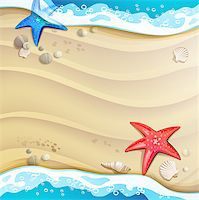 Summer beach with starfish and sea shells Stock Photo - Royalty-Freenull, Code: 400-07039612