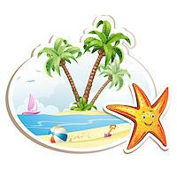 Summer beach with palm trees and starfish over white Stock Photo - Royalty-Freenull, Code: 400-07039613