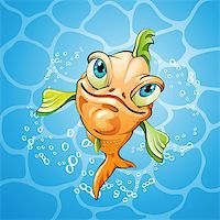 Cartoon fish smiling over water background Stock Photo - Royalty-Free, Artist: Merlinul, Code: 400-07039617