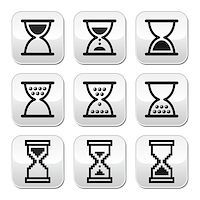 sand clock - Sandglass buttons set isolated on white Stock Photo - Royalty-Freenull, Code: 400-07052354