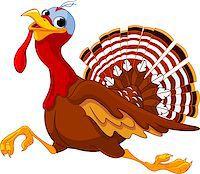 Cartoon turkey running, isolated on white background Stock Photo - Royalty-Free, Artist: Dazdraperma, Code: 400-07054313