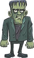 Cartoon green Frankenstein monster with big eyes Stock Photo - Royalty-Freenull, Code: 400-07054873