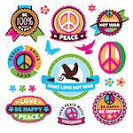 set of peace symbols and labels vector illustration Stock Photo - Royalty-Free, Artist: SelenaMay, Code: 400-07055267