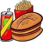 Cartoon Illustration of Fast Food Set with Hamburger and French Fries and Soda Clip Art
