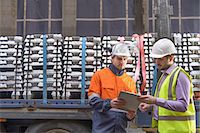 supply - Warehouse workers checking truck cargo Stock Photo - Premium Royalty-Freenull, Code: 649-07063347