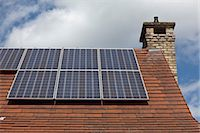 solar power - Close up of house roof with solar panels Stock Photo - Premium Royalty-Freenull, Code: 649-07063496