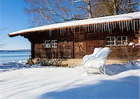snow covered trees - Snow covered log cabin, Lake Starnberg, Bavaria, Germany Stock Photo - Premium Royalty-Freenull, Code: 649-07063566