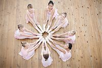 Elevated view of young ballerina in circle formation Stock Photo - Premium Royalty-Freenull, Code: 649-07063703